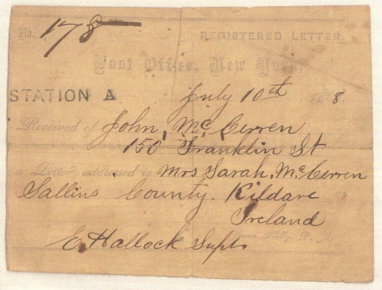 registered letter 1868 postal notice for a international registered letter 24259 | 1868 postal
